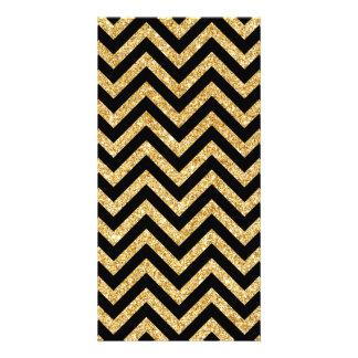 Black Gold Glitter Zigzag Stripes Chevron Pattern Customised Photo Card