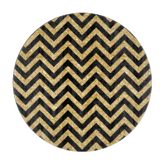 Black Gold Glitter Zigzag Stripes Chevron Pattern Cutting Board