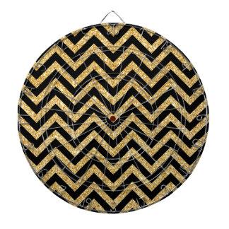 Black Gold Glitter Zigzag Stripes Chevron Pattern Dartboard