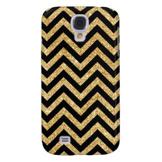 Black Gold Glitter Zigzag Stripes Chevron Pattern Galaxy S4 Cases