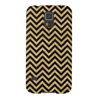 Black Gold Glitter Zigzag Stripes Chevron Pattern Galaxy S5 Cover
