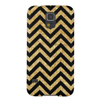 Black Gold Glitter Zigzag Stripes Chevron Pattern Galaxy S5 Covers