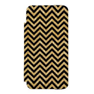 Black Gold Glitter Zigzag Stripes Chevron Pattern Incipio Watson™ iPhone 5 Wallet Case