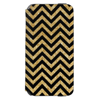 Black Gold Glitter Zigzag Stripes Chevron Pattern Incipio Watson™ iPhone 6 Wallet Case