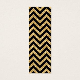 Black Gold Glitter Zigzag Stripes Chevron Pattern Mini Business Card