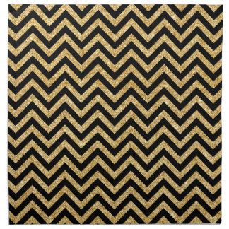 Black Gold Glitter Zigzag Stripes Chevron Pattern Napkin