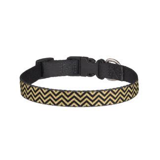 Black Gold Glitter Zigzag Stripes Chevron Pattern Pet Collar