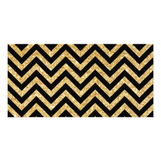 Black Gold Glitter Zigzag Stripes Chevron Pattern Photo Cards