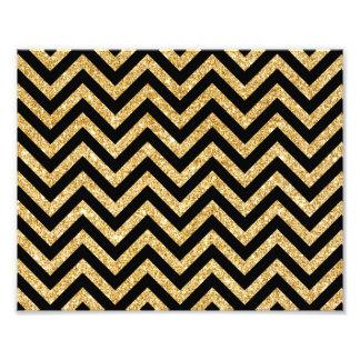 Black Gold Glitter Zigzag Stripes Chevron Pattern Photo Print