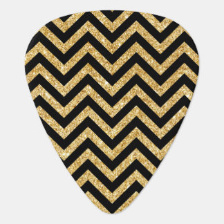 Black Gold Glitter Zigzag Stripes Chevron Pattern Plectrum