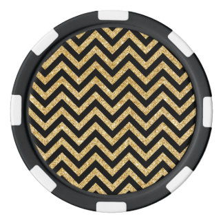 Black Gold Glitter Zigzag Stripes Chevron Pattern Poker Chips