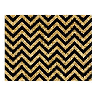 Black Gold Glitter Zigzag Stripes Chevron Pattern Postcard