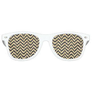 Black Gold Glitter Zigzag Stripes Chevron Pattern Retro Sunglasses