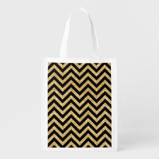 Black Gold Glitter Zigzag Stripes Chevron Pattern Reusable Grocery Bag