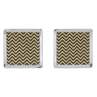 Black Gold Glitter Zigzag Stripes Chevron Pattern Silver Finish Cuff Links