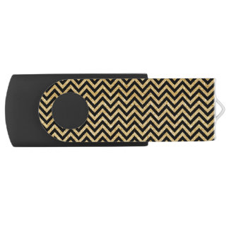 Black Gold Glitter Zigzag Stripes Chevron Pattern USB Flash Drive