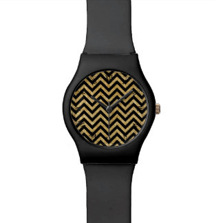 Black Gold Glitter Zigzag Stripes Chevron Pattern Watches