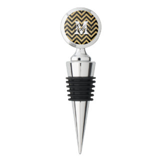 Black Gold Glitter Zigzag Stripes Chevron Pattern Wine Stopper