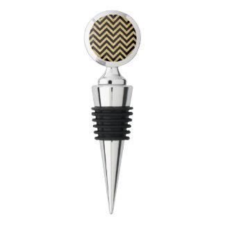 Black Gold Glitter Zigzag Stripes Chevron Pattern Wine Stopper
