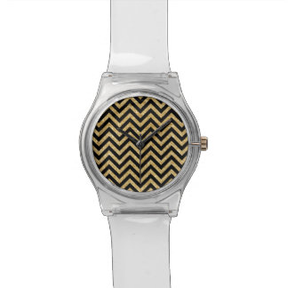 Black Gold Glitter Zigzag Stripes Chevron Pattern Wrist Watches