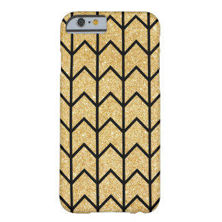 Black Gold Glitter Zigzag Unique Chevron Pattern Barely There iPhone 6 Case