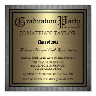 Black Gold Graduation 13 Cm X 13 Cm Square Invitation Card