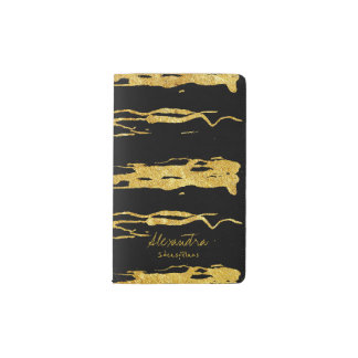 Black gold hand painted brushes calligraphy text pocket moleskine notebook