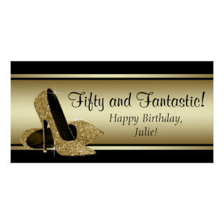 Black Gold High Heel Birthday Party Banner Posters