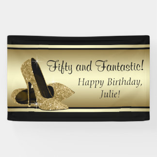 Black Gold High Heel Shoe Birthday Party Banner