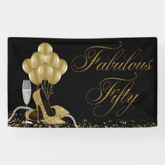 Black Gold High Heel Shoe Pearls 50th Birthday