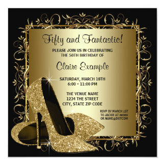 Black Gold High Heels Womans Birthday Party 5.25x5.25 Square Paper Invitation Card