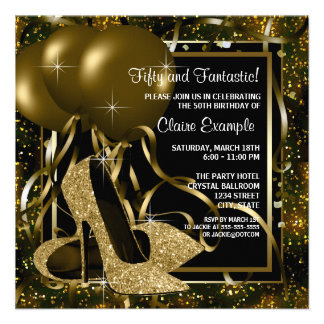 Black Gold High Heels Womans Brithday Party Personalised Announcements