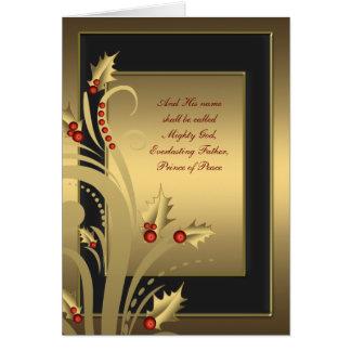 Black Gold Holly Christian Christmas Cards