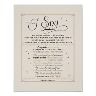Black & Gold I Spy Wedding Hashtag Sign