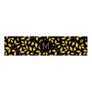 Black & Gold Leafs Pattern Monogram Napkin Band