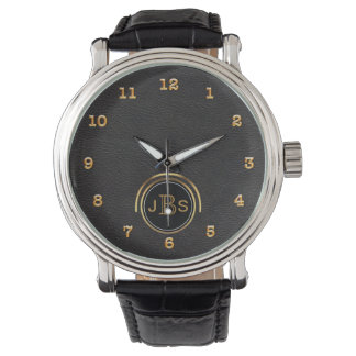 Black Gold Leather | Masculine Monogram Executive Watches
