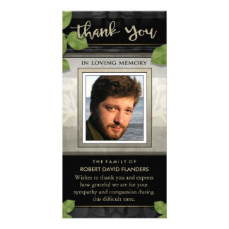 Black Gold Leaves Photo Custom Thank You Card Personalised Photo Card