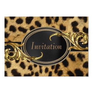 Black Gold Leopard All Occasion Party 13 Cm X 18 Cm Invitation Card