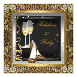 Black Gold Leopard High Heels Champagne Birthday 13 Cm X 13 Cm Square Invitation Card