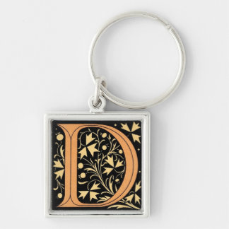 Black & Gold Letter 'D' Silver-Colored Square Key Ring