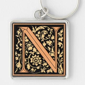 Black & Gold Letter 'N' - Keychain