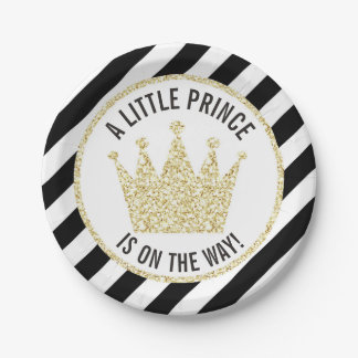 Black Gold Little Prince on the Way Baby Shower Paper Plate