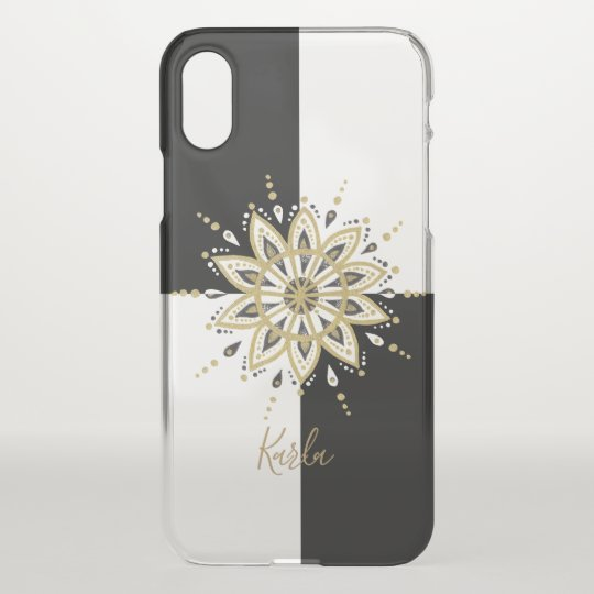 Black & Gold Mandala Geometric Background iPhone X Case