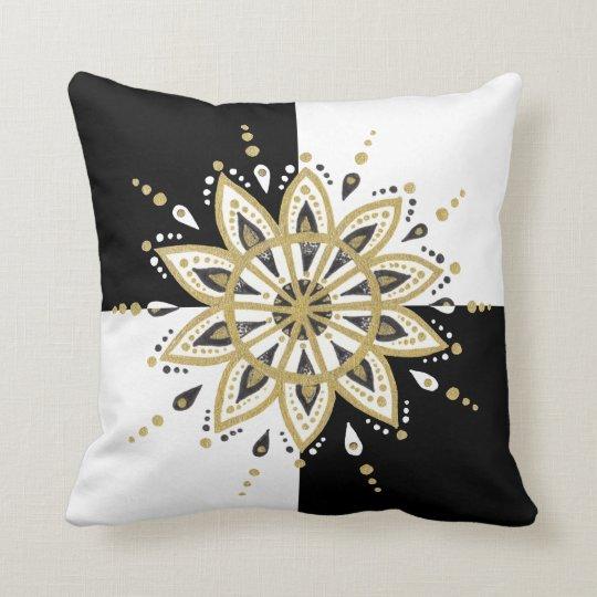 Black & Gold Mandala Modern Geometric Background Cushion