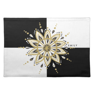 Black & Gold Mandala With Geometric Background Placemat