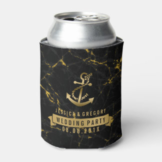 Black & Gold marble Nautical Boat Anchor Can Cooler