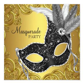 Black Gold Mask Masquerade Party 13 Cm X 13 Cm Square Invitation Card