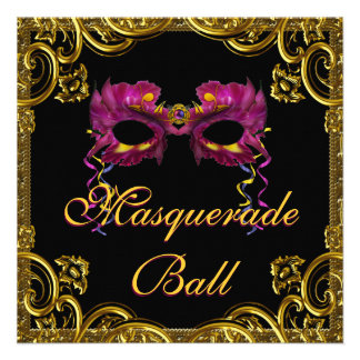 Black Gold Mask Masquerade Party Custom Invitations
