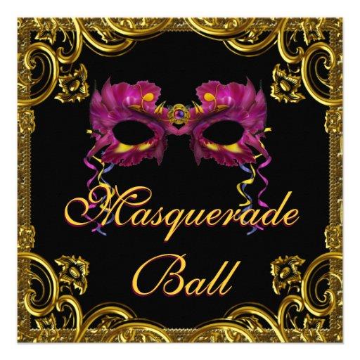 Black Gold Mask Masquerade Party Custom Invitations