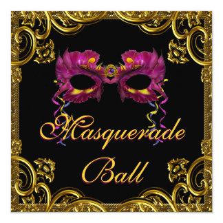 """Black Gold Mask Masquerade Party 5.25"""" Square Invitation Card"""